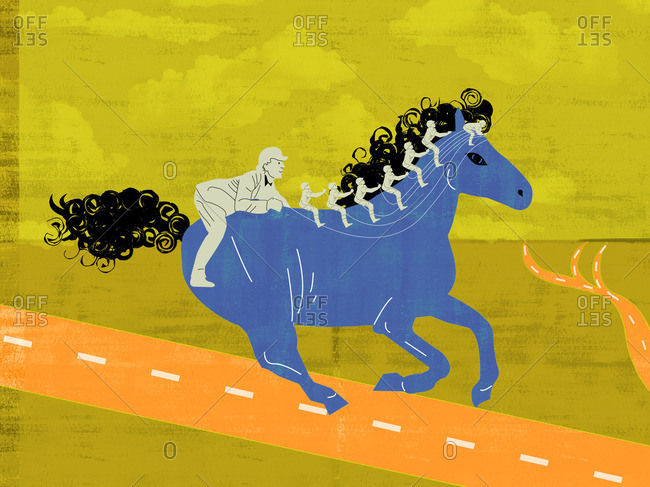 Group of men riding blue horse