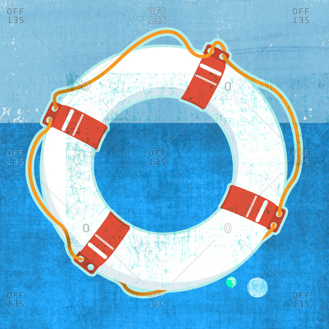 Life ring floating in water