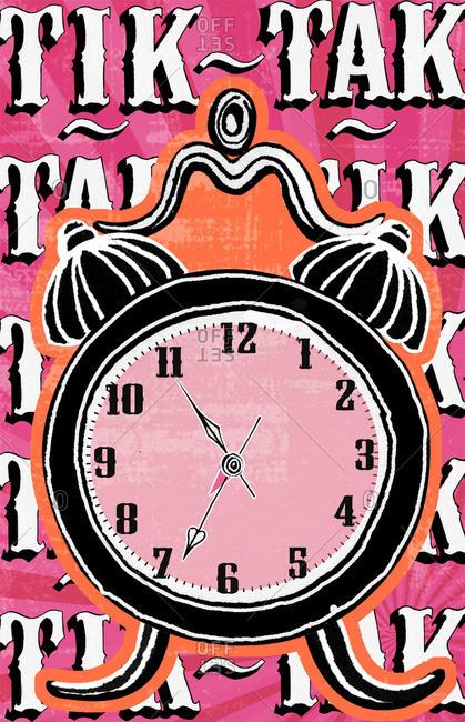 An alarm clock telling time