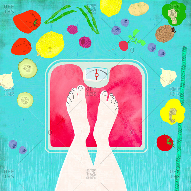 Feet on scales with a healthy diet