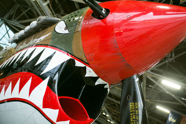 New York, NY, USA - September 13, 2015: WWII era painted fighter plane