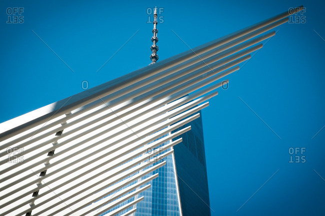 New York, NY, USA - September 6, 2015: Freedom Tower and 9/11 Memorial Museum in New York City
