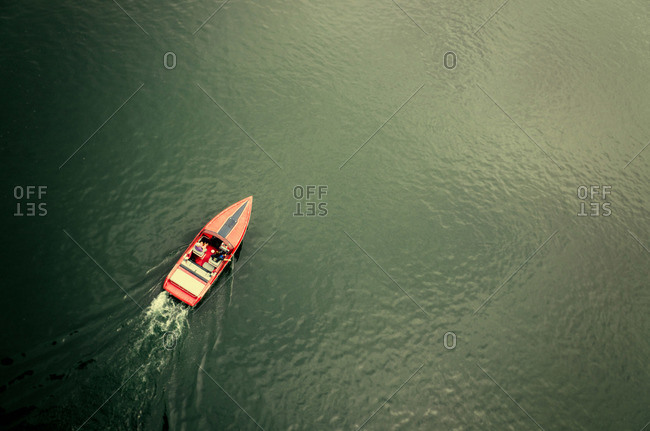 A motorboat riding through the ocean