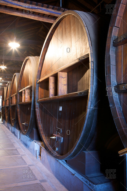 Large wine barrels in an Argentinian winery