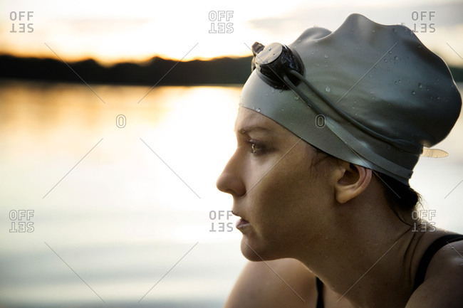 Portrait of female swimmer in a lake