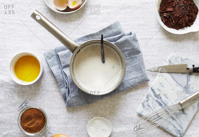 Ingredients for making salted pots de creme