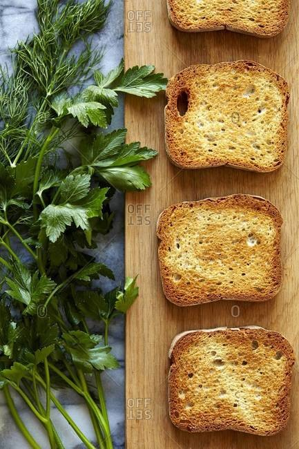 Toast for goat cheese and radish tartines