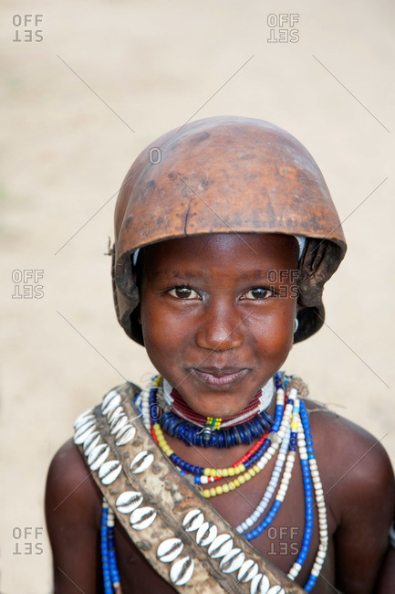 Ethiopia - January 24, 2007: A young girl from Karo tribe in Ethiopia
