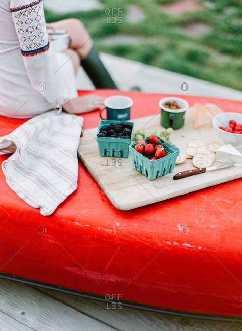 A picnic spread on the underside of a boat
