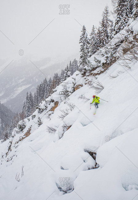 Man skiing on powder in St. Anton, Austria