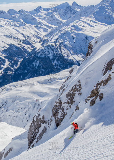Man skiing in powder snow in St. Anton, Austria
