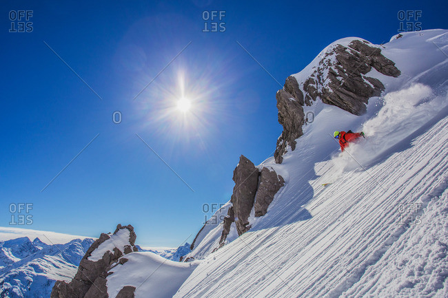 Downhill skiing on powder in St. Anton, Austria