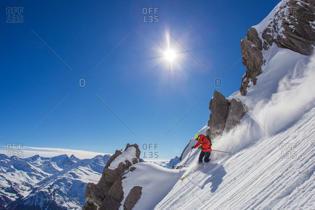 Downhill skiing in powder in St. Anton, Austria