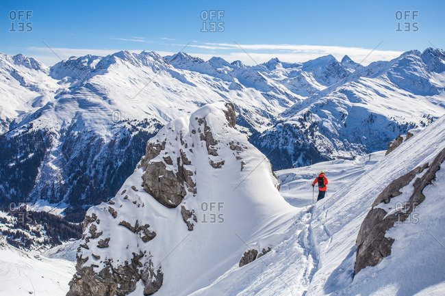 Downhill skiing on powder snow in St. Anton, Austria