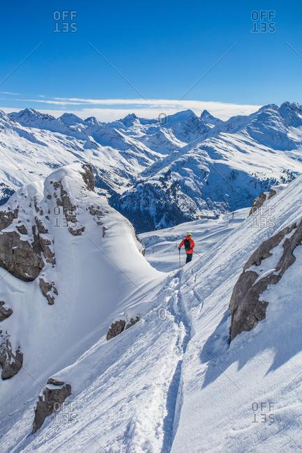 Downhill skiing in powder snow in St. Anton, Austria