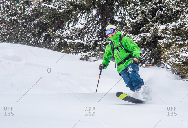 Man skiing on powder snow in the trees
