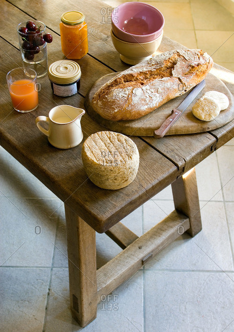 Bread served on a country farm table