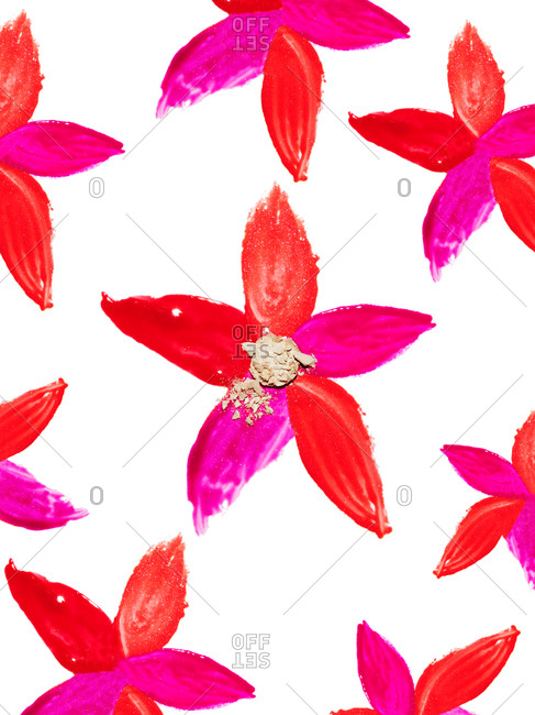 Flowers made of shades of lip gloss