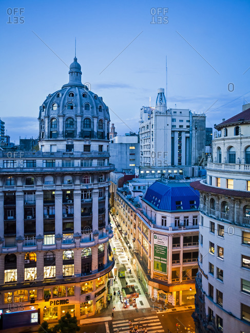 Buenos Aires, Argentina - January 20, 2012: Calle Florida and 19th century buildings