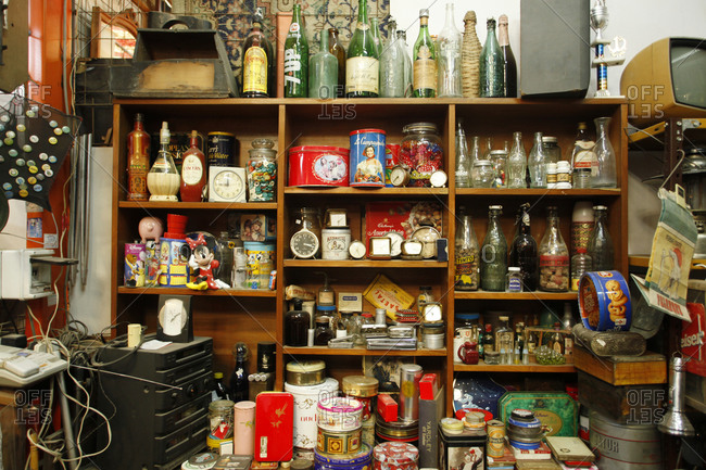 Buenos Aires, Argentina - January 22, 2010: Shelves of items for sale at a flea market