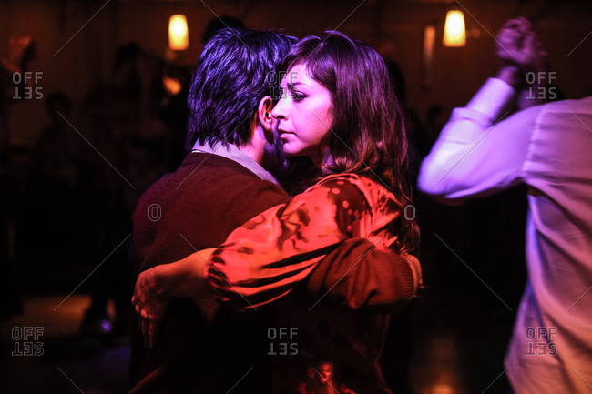 Buenos Aires, Argentina - May 7, 2010: Couple dancing a tango in a dance hall