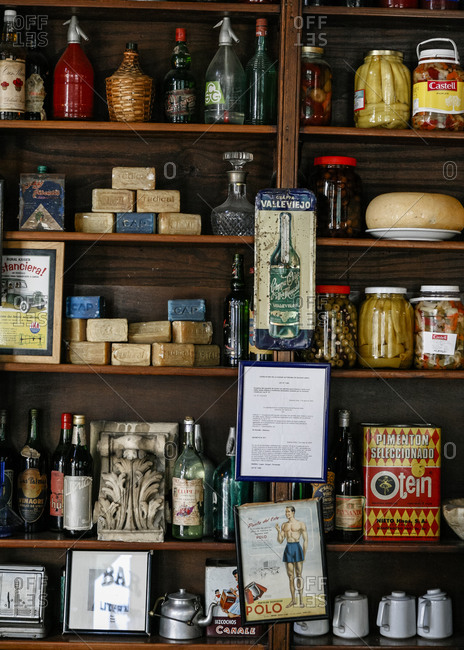 Buenos Aires, Argentina - January 12, 2012: Vintage objects on shelves in a flea market