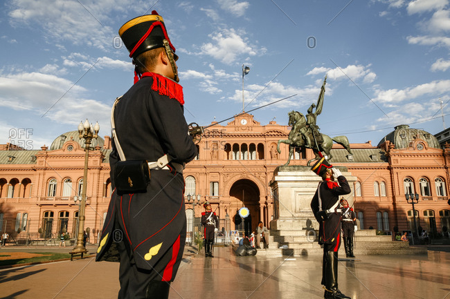 Buenos Aires, Argentina - January 20, 2012: Guards at the presidential palace