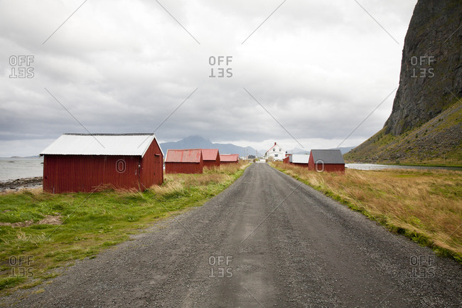 Red barns on a farm in Norway