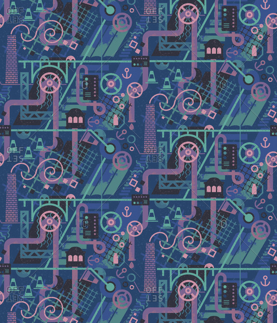 Patter with blue and purple industrial motifs