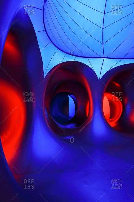 Raleigh, North Carolina, USA - May 21, 2011: Interior of Amococo, a large inflatable sculpture, at a festival