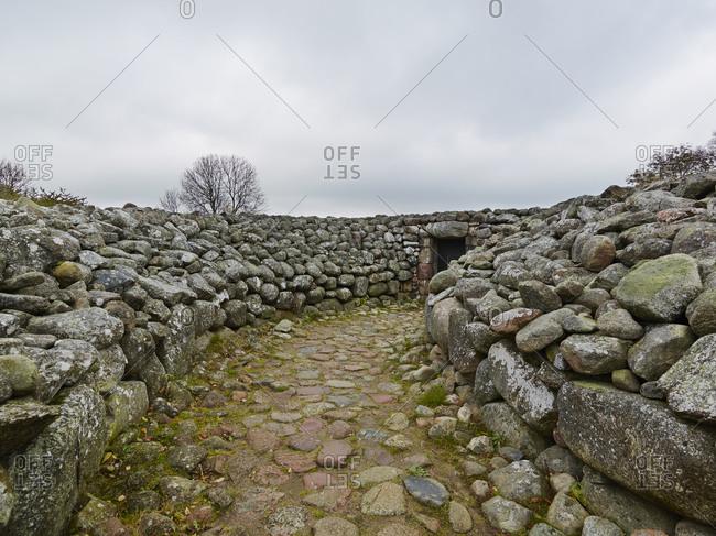 Stone wall along stone path