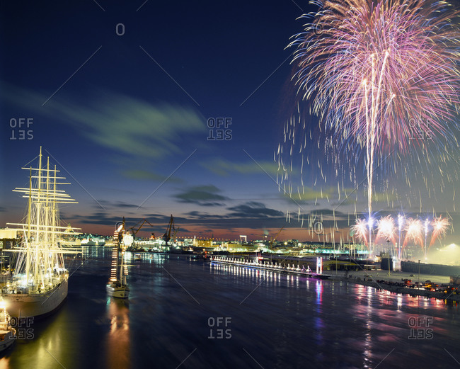 Fireworks above city, Lilla Bommen, Gothenburg