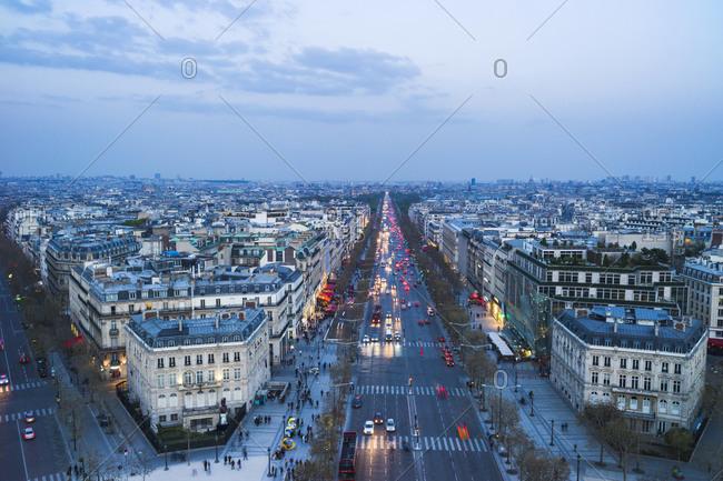 Cityscape at dusk, Paris - Offset