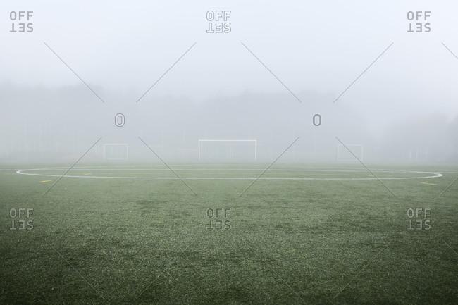 Playing field in fog