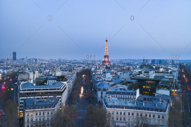 Paris cityscape at dusk, France