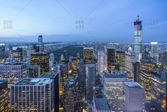New York cityscape at dusk