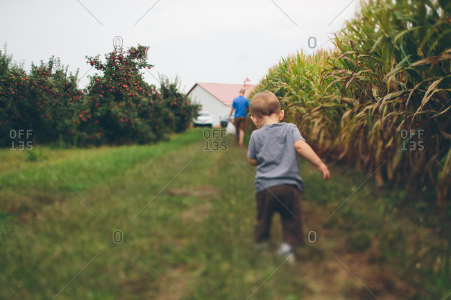 Toddler following his father on a farm