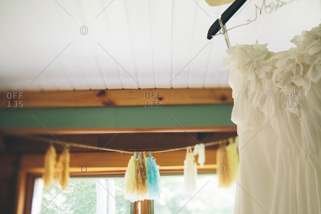 Bride's dress on a hanger