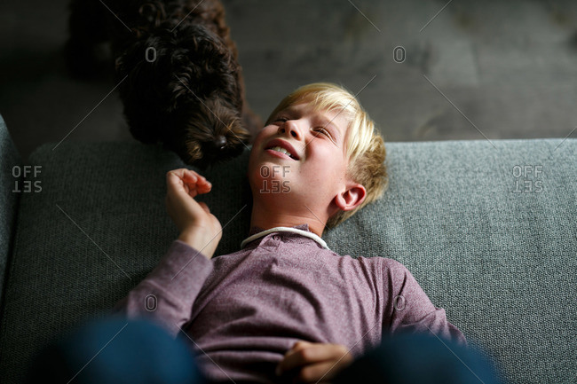 Affectionate dog sniffing young boy as he lies on sofa