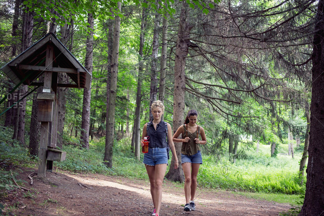 Two young women walking on a hiking trail
