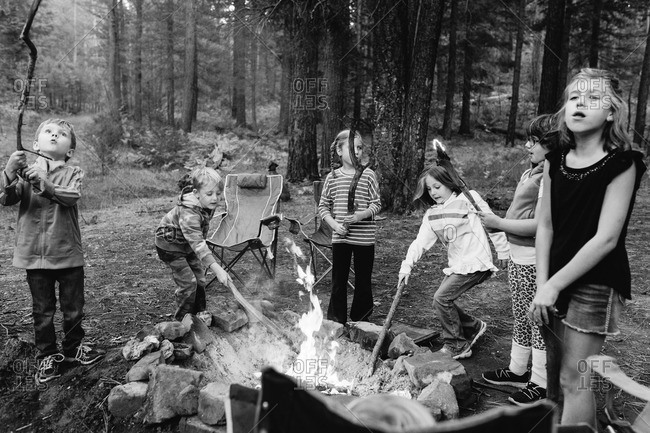 Six kids with sticks at a campfire