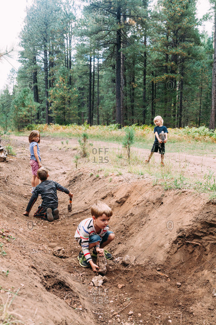Kids digging in a ditch in woods