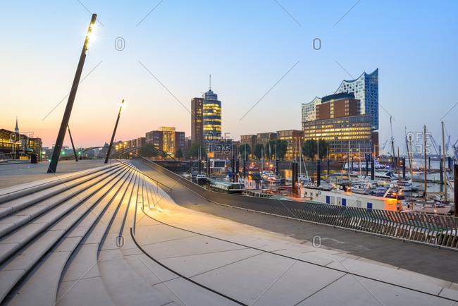 Hamburg, Germany - September 8, 2015: Elbphilharmonie and harbor in the morning, Hanseatic Trade Center