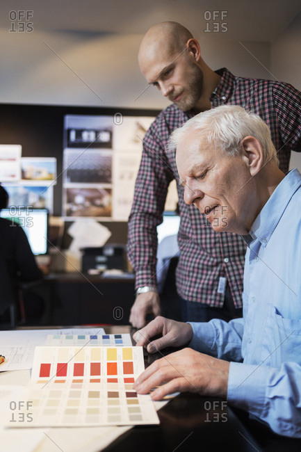 Businessmen choosing color from swatch in an office