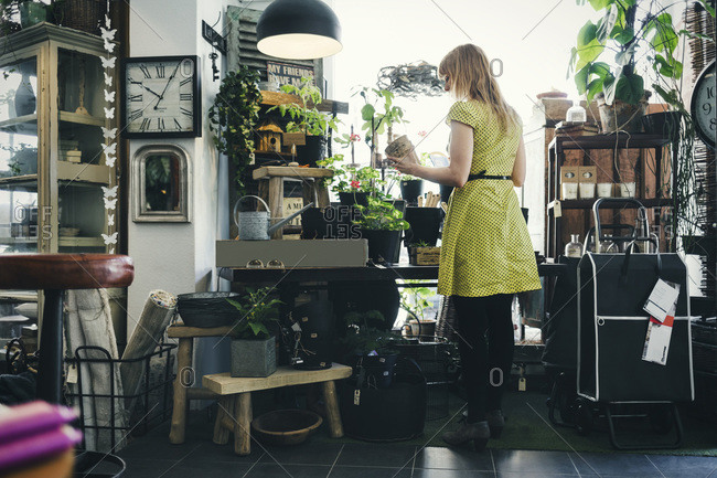 Rear view of woman working in an interior design shop