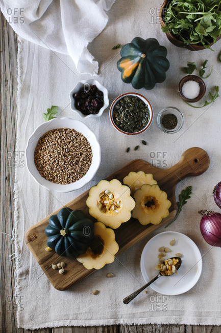Ingredients for roasted acorn squash salad with farro