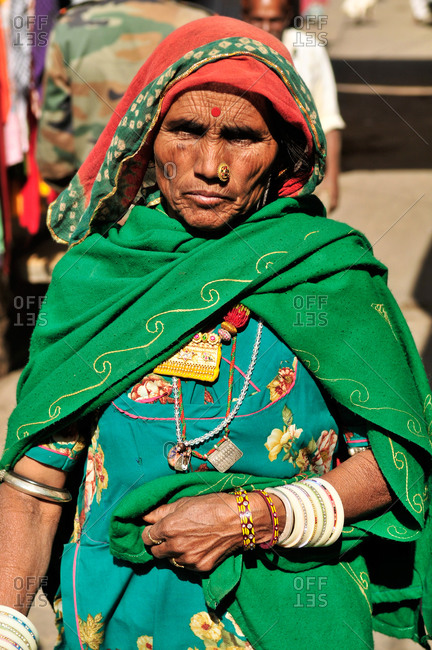 Jaisamer, India - March 5, 2014: Portrait of a senior Indian woman in a sari