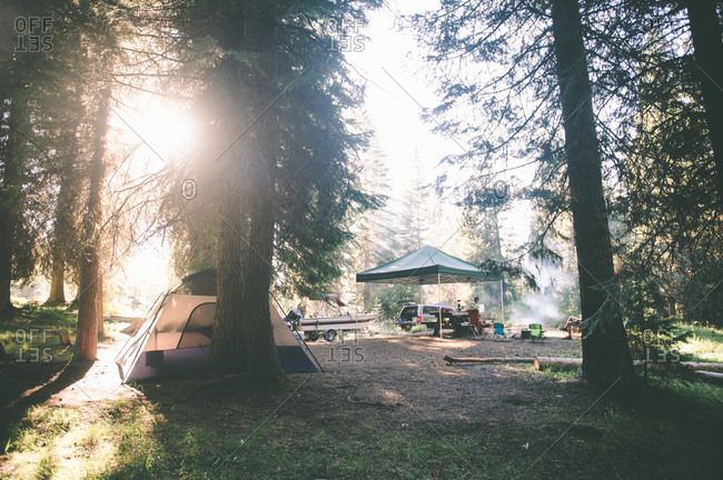 Family campsite in the woods