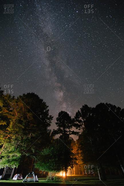 Campsite underneath a starry sky
