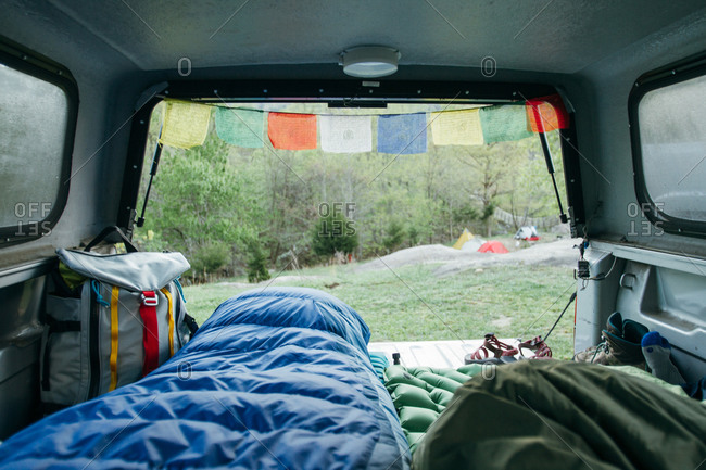 View from inside truck bed used for camping
